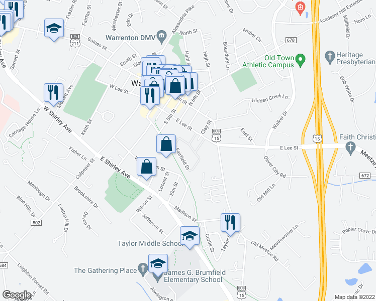 map of restaurants, bars, coffee shops, grocery stores, and more near 91 Leeds Court in Warrenton