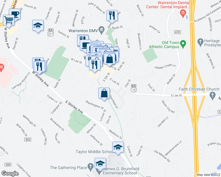 map of restaurants, bars, coffee shops, grocery stores, and more near 128C Fairfield Drive in Warrenton