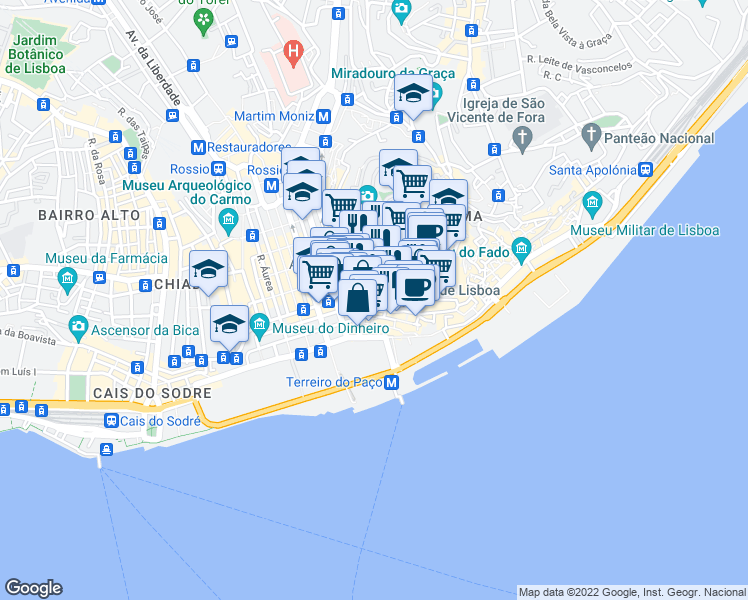 map of restaurants, bars, coffee shops, grocery stores, and more near Largo de Santo António da Sé in Lisboa