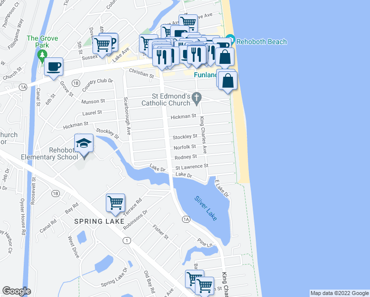 map of restaurants, bars, coffee shops, grocery stores, and more near 112 Norfolk Street in Rehoboth Beach