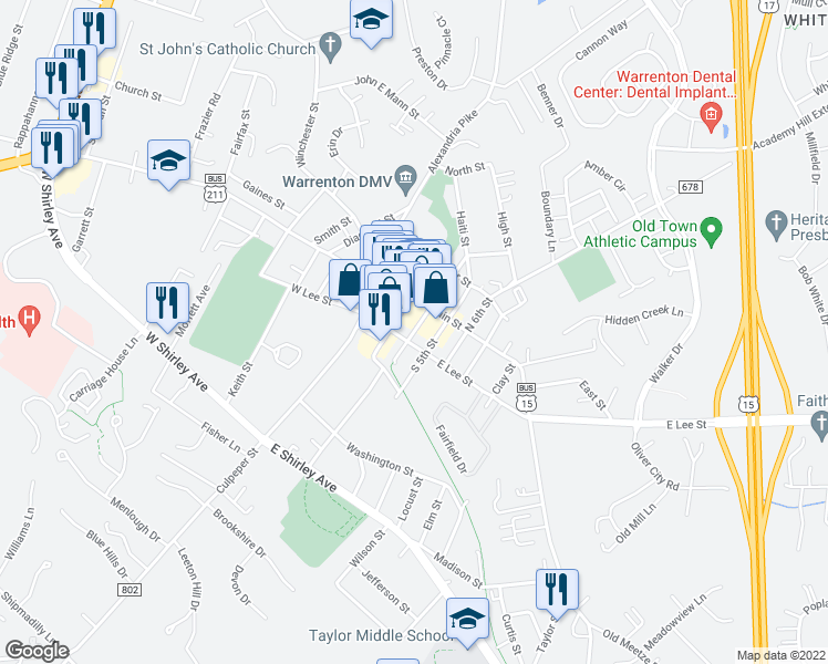 map of restaurants, bars, coffee shops, grocery stores, and more near 31 South 4th Street in Warrenton