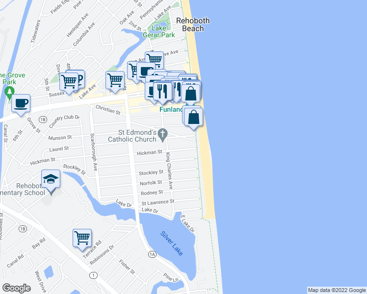 map of restaurants, bars, coffee shops, grocery stores, and more near 5b Hickman Street in Rehoboth Beach