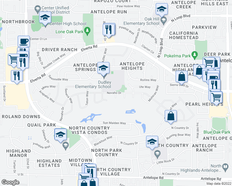 map of restaurants, bars, coffee shops, grocery stores, and more near 3775-3831 Navaho Drive in Antelope