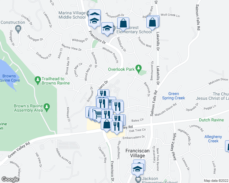 map of restaurants, bars, coffee shops, grocery stores, and more near 3025 Village Center Drive in El Dorado Hills