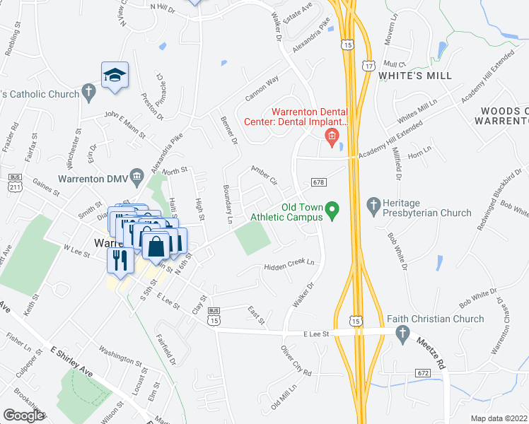 map of restaurants, bars, coffee shops, grocery stores, and more near 179 Sterling Court in Warrenton