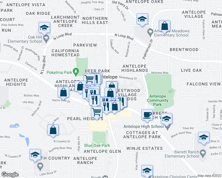 map of restaurants, bars, coffee shops, grocery stores, and more near 4400 Shandwick Drive in Antelope