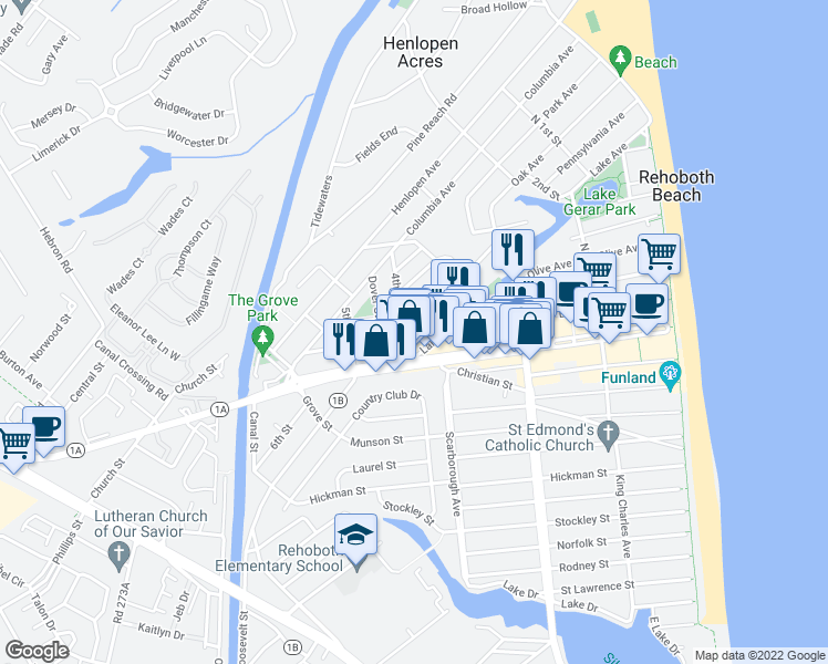 map of restaurants, bars, coffee shops, grocery stores, and more near 71 Lake Avenue in Rehoboth Beach