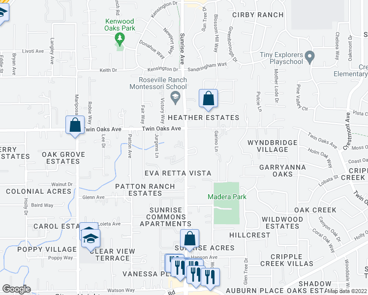 map of restaurants, bars, coffee shops, grocery stores, and more near 8317 Sunrise Boulevard in Citrus Heights