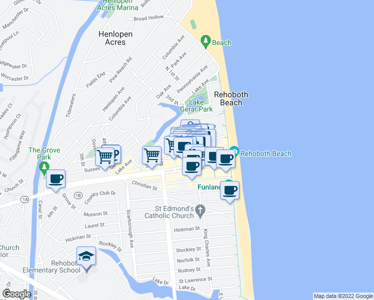 map of restaurants, bars, coffee shops, grocery stores, and more near 41 Baltimore Avenue in Rehoboth Beach