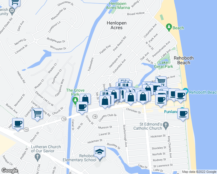 map of restaurants, bars, coffee shops, grocery stores, and more near 13 4th Street in Rehoboth Beach