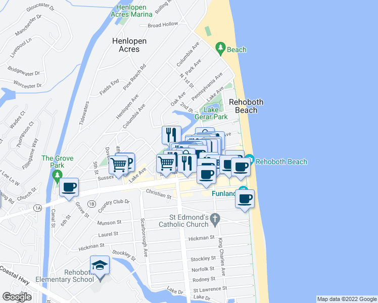 map of restaurants, bars, coffee shops, grocery stores, and more near 47 Maryland Avenue in Rehoboth Beach