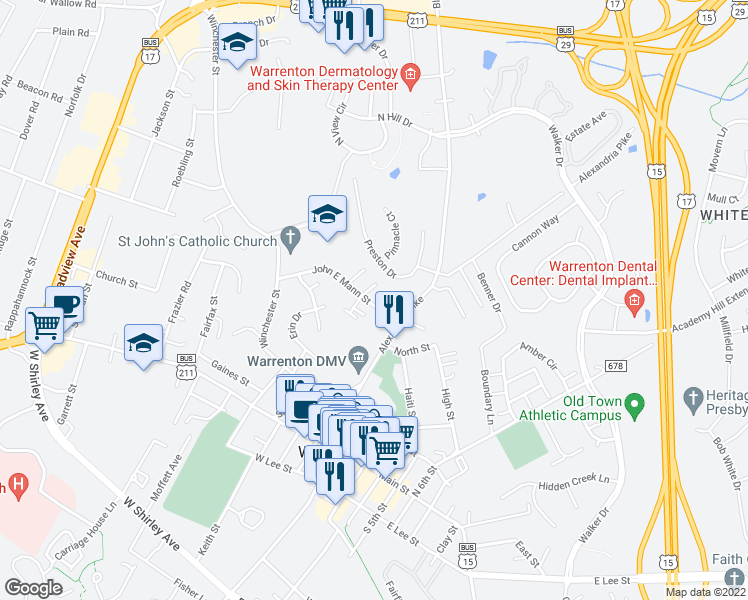 map of restaurants, bars, coffee shops, grocery stores, and more near 41 John E Mann Street in Warrenton