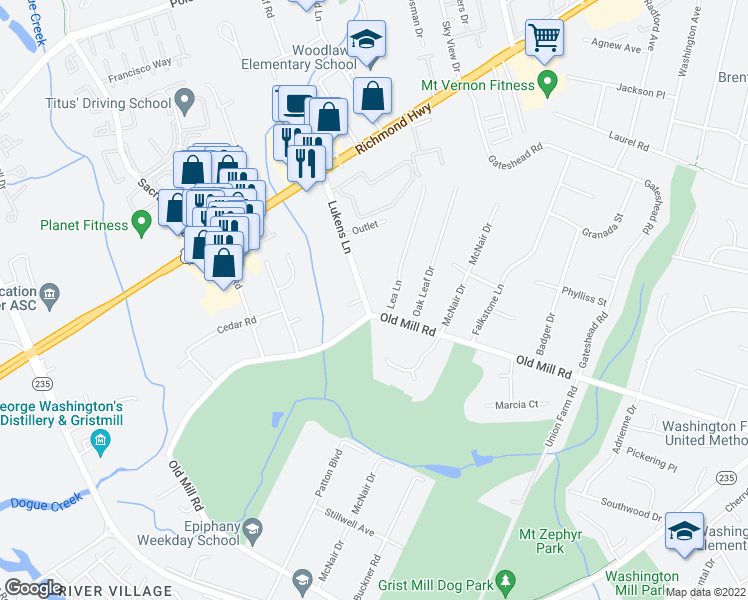 map of restaurants, bars, coffee shops, grocery stores, and more near 8805 Lukens Lane in Alexandria