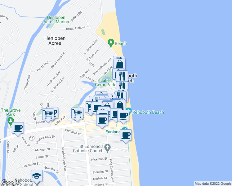 map of restaurants, bars, coffee shops, grocery stores, and more near 7 Olive Avenue in Rehoboth Beach