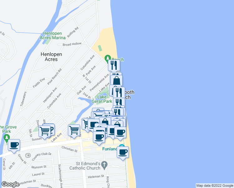 map of restaurants, bars, coffee shops, grocery stores, and more near 527 North Boardwalk in Rehoboth Beach