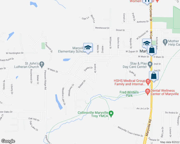 map of restaurants, bars, coffee shops, grocery stores, and more near 826 Robert Drive in Maryville