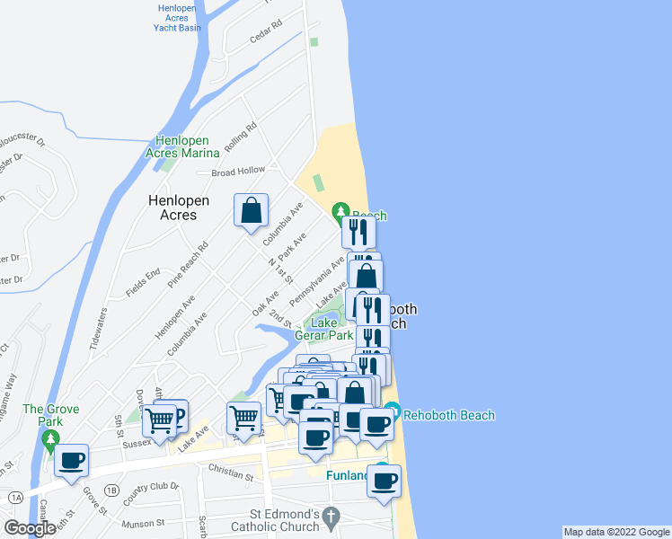 map of restaurants, bars, coffee shops, grocery stores, and more near 12 Pennsylvania Avenue in Rehoboth Beach