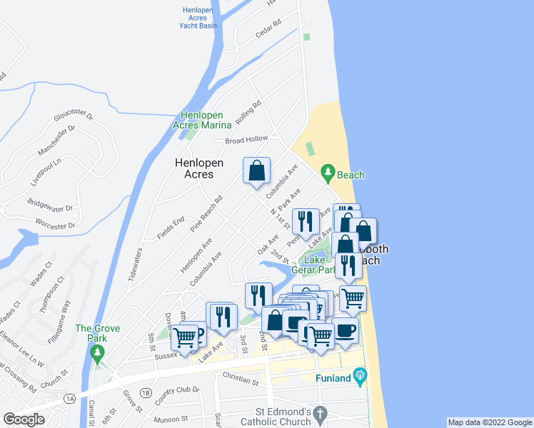 map of restaurants, bars, coffee shops, grocery stores, and more near 35 Park Avenue in Rehoboth Beach
