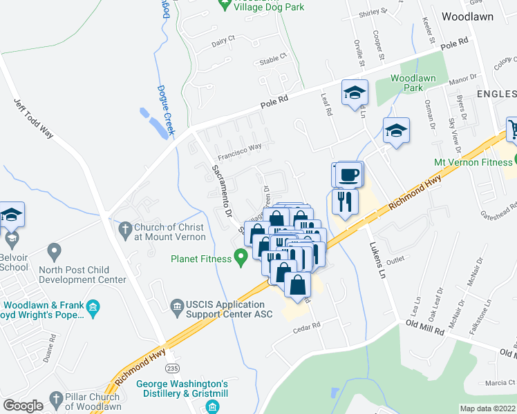 map of restaurants, bars, coffee shops, grocery stores, and more near 8631 Village Way in Alexandria