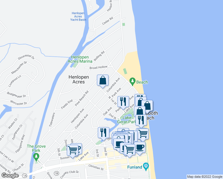 map of restaurants, bars, coffee shops, grocery stores, and more near 24 Columbia Avenue in Rehoboth Beach
