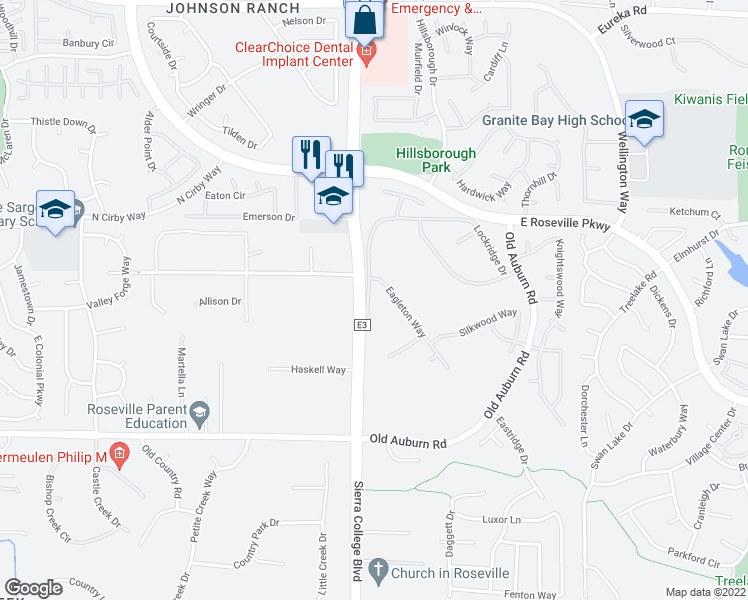 map of restaurants, bars, coffee shops, grocery stores, and more near 421 Lockridge Court in Granite Bay