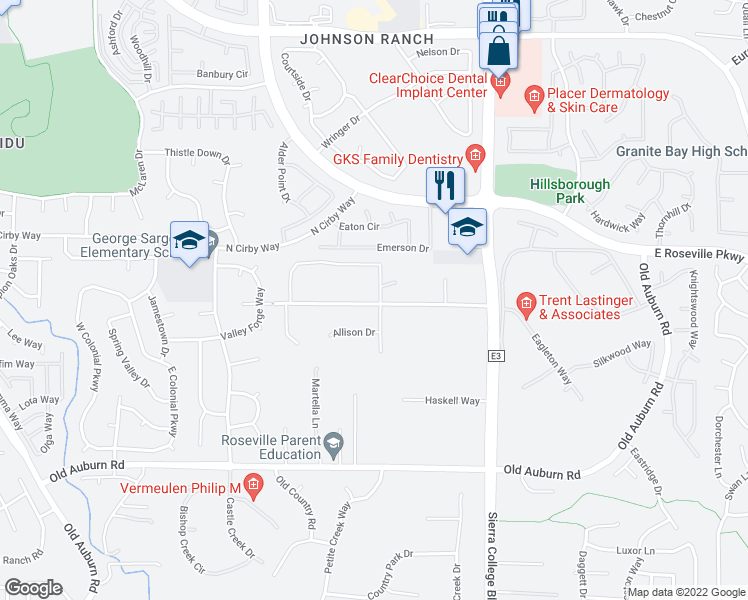map of restaurants, bars, coffee shops, grocery stores, and more near 9390 Eckerman Road in Roseville