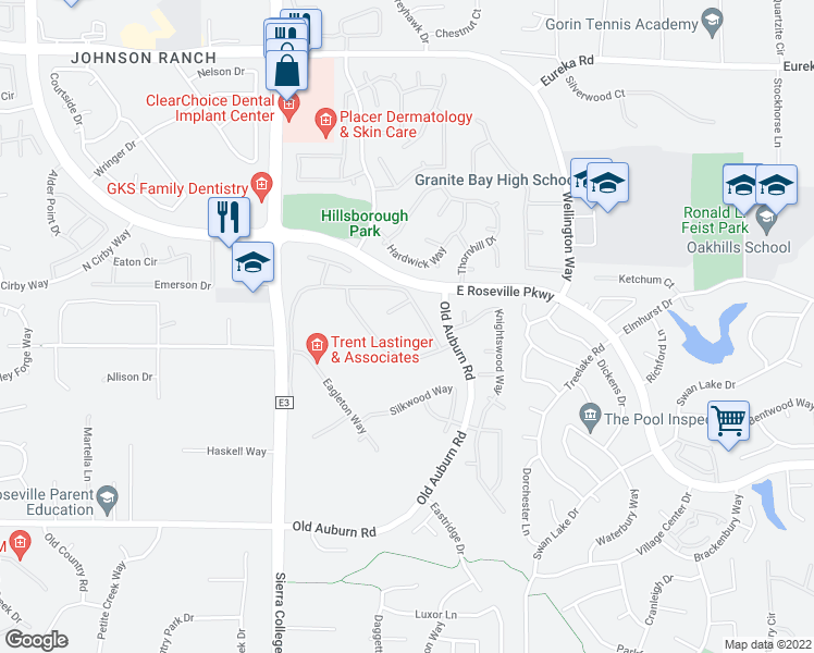 map of restaurants, bars, coffee shops, grocery stores, and more near 6041 Lockridge Drive in Roseville