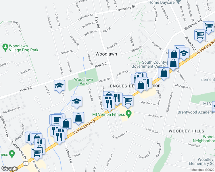 map of restaurants, bars, coffee shops, grocery stores, and more near 8438 Hallie Rose Street in Alexandria
