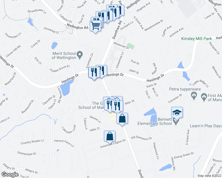 map of restaurants, bars, coffee shops, grocery stores, and more near 10275 Dorchester Place in Manassas