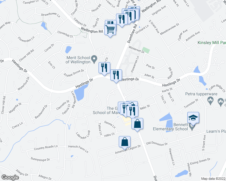map of restaurants, bars, coffee shops, grocery stores, and more near 10230 Manassas Mill Road in Manassas