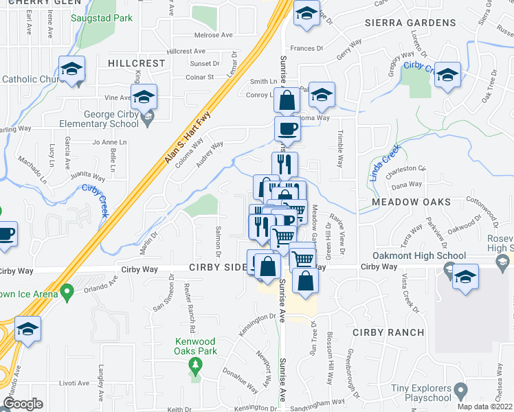 map of restaurants, bars, coffee shops, grocery stores, and more near 1010 Madden Lane in Roseville