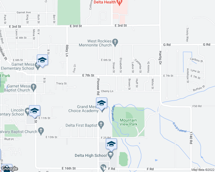 map of restaurants, bars, coffee shops, grocery stores, and more near 1416 Rainier Lane in Delta