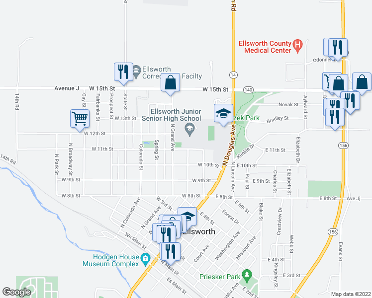 map of restaurants, bars, coffee shops, grocery stores, and more near 1009 North Kansas Avenue in Ellsworth