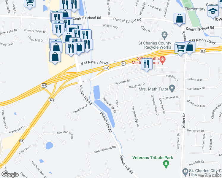map of restaurants, bars, coffee shops, grocery stores, and more near 124 Shirleyridge Drive in Saint Charles