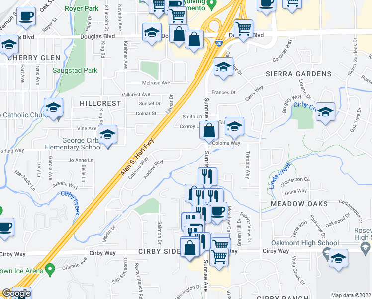 map of restaurants, bars, coffee shops, grocery stores, and more near Coloma Way in Roseville