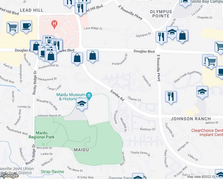 map of restaurants, bars, coffee shops, grocery stores, and more near Deer Valley Apartments in Roseville