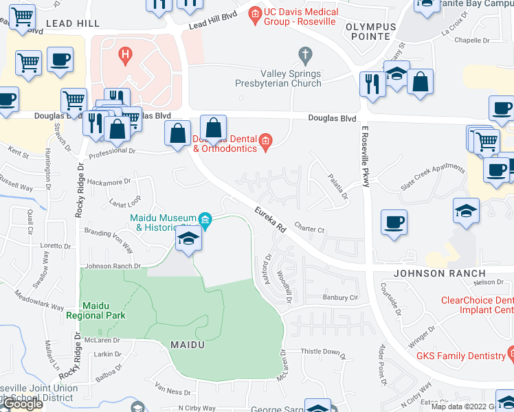map of restaurants, bars, coffee shops, grocery stores, and more near 1801 Eureka Road in Roseville