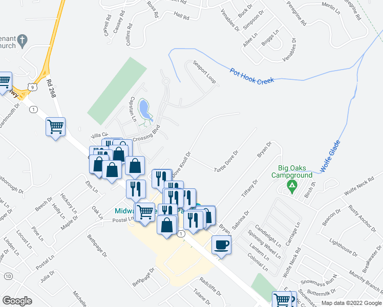map of restaurants, bars, coffee shops, grocery stores, and more near 1 Turtle Dove Drive in Rehoboth Beach