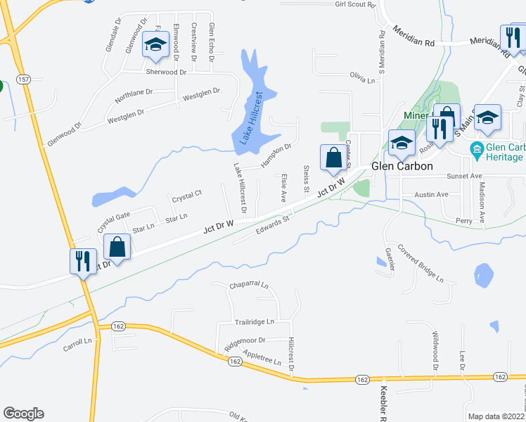 map of restaurants, bars, coffee shops, grocery stores, and more near 233 Glenlake Drive in Glen Carbon