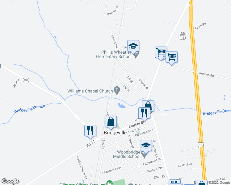 map of restaurants, bars, coffee shops, grocery stores, and more near 491 North Cannon Street in Bridgeville