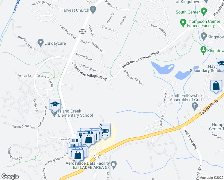 map of restaurants, bars, coffee shops, grocery stores, and more near 7735 Rachael Whitney Lane in Alexandria
