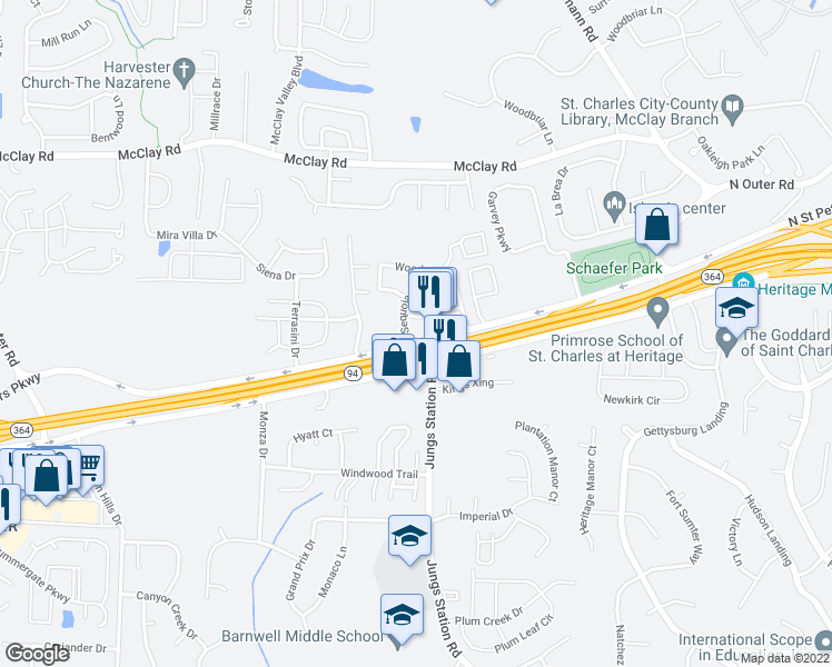 map of restaurants, bars, coffee shops, grocery stores, and more near 304 Broadridge Drive in St. Peters