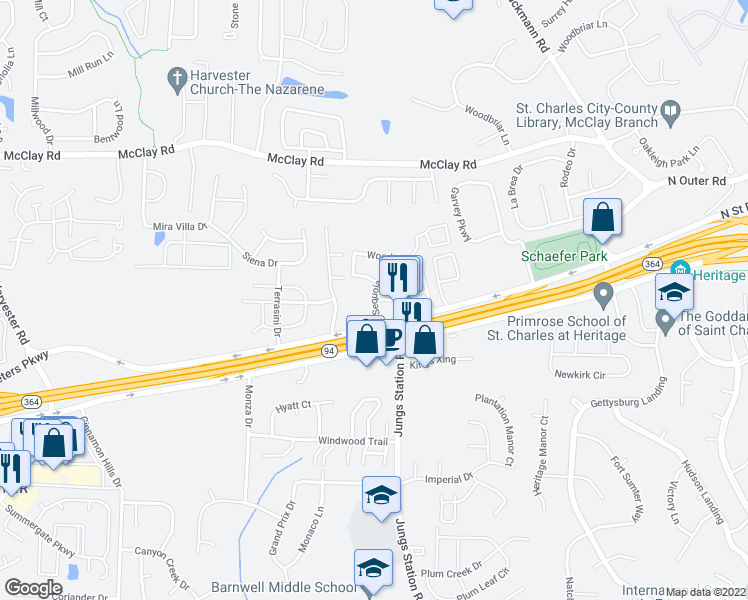 map of restaurants, bars, coffee shops, grocery stores, and more near 513 Sequoia Drive in Saint Peters