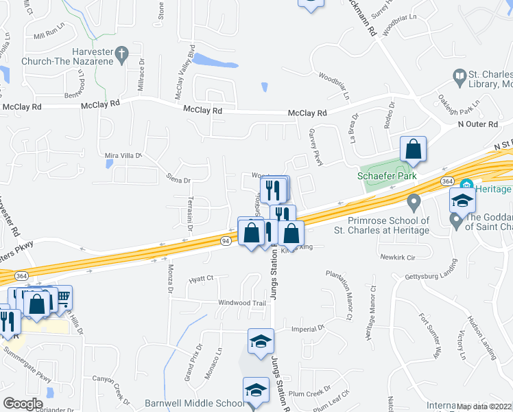 map of restaurants, bars, coffee shops, grocery stores, and more near 501-905 Sequoia Drive in Saint Peters