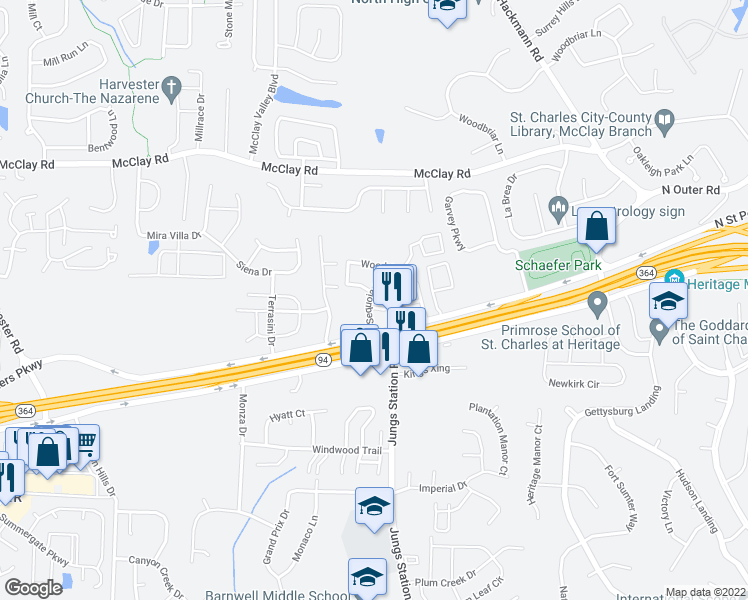 map of restaurants, bars, coffee shops, grocery stores, and more near 100 Broadridge Drive in St. Peters