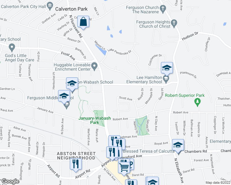 map of restaurants, bars, coffee shops, grocery stores, and more near 101 Scott Avenue in Ferguson