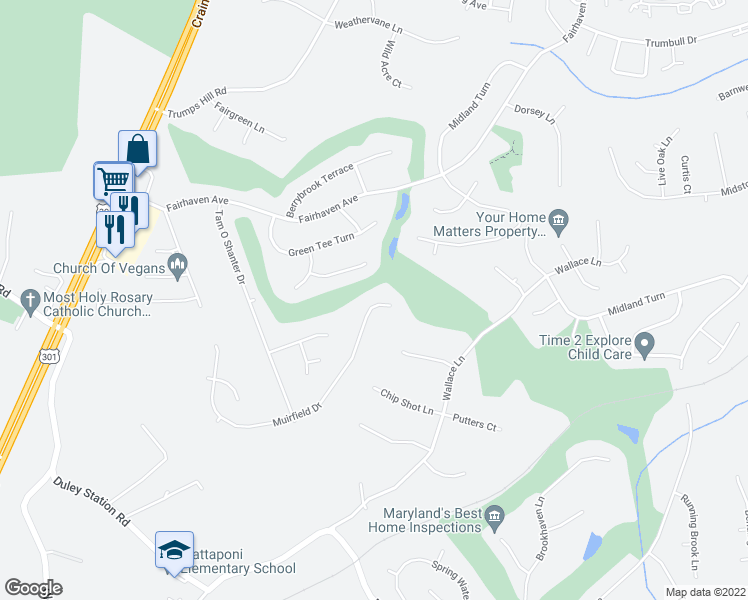 map of restaurants, bars, coffee shops, grocery stores, and more near 9609 Muirfield Drive in Upper Marlboro