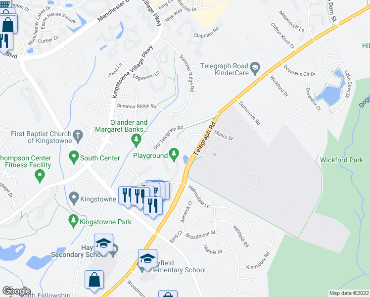 map of restaurants, bars, coffee shops, grocery stores, and more near 5613 Belleau Woods Lane in Alexandria