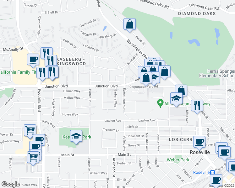 map of restaurants, bars, coffee shops, grocery stores, and more near 512 Adora Circle in Roseville