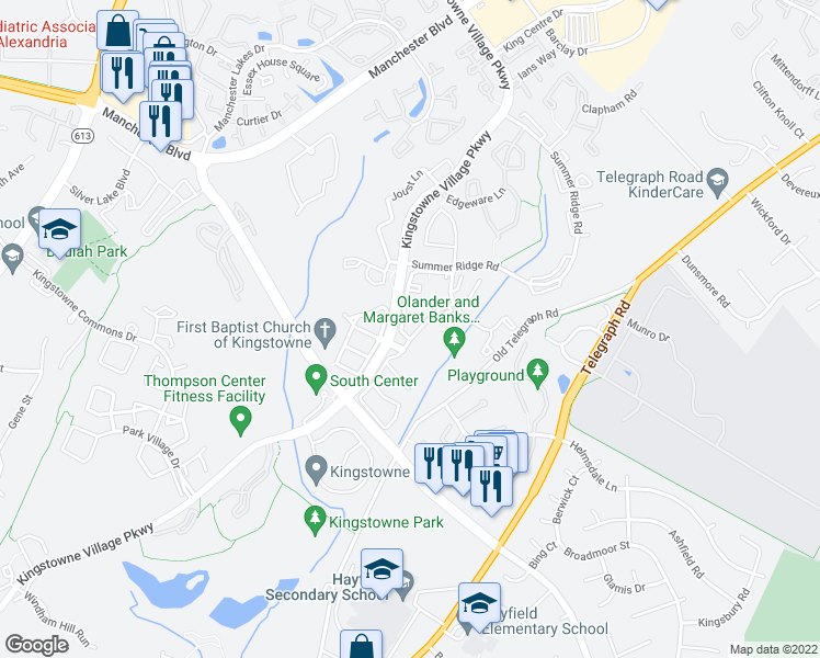 map of restaurants, bars, coffee shops, grocery stores, and more near 6001-6069 Liverpool Lane in Alexandria